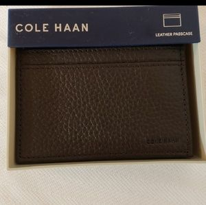 NWT Cole Haan Mens Leather Card Wallet Chocolate